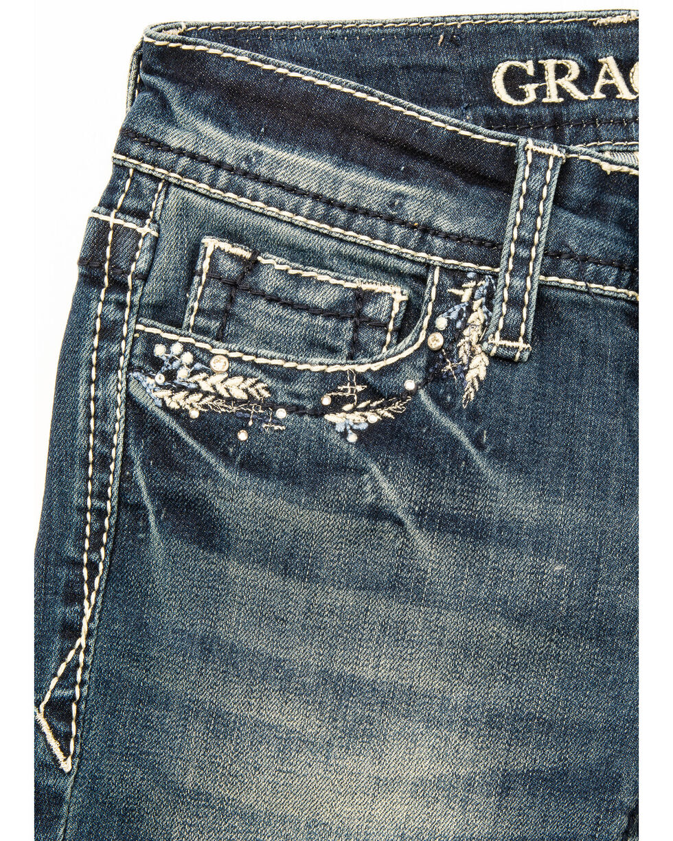 Grace in LA Girls' Feather Pocket Bootcut Jeans, Blue, hi-res