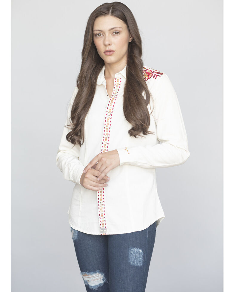 Kimes Ranch Women's Electric Lady Embroidered Long Sleeve Western Shirt, Off White, hi-res
