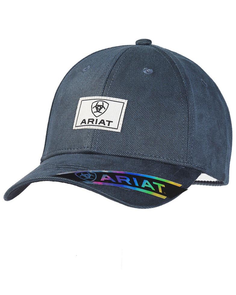 Ariat Men's Navy Oilskin Logo Patch Ball Cap , Navy, hi-res