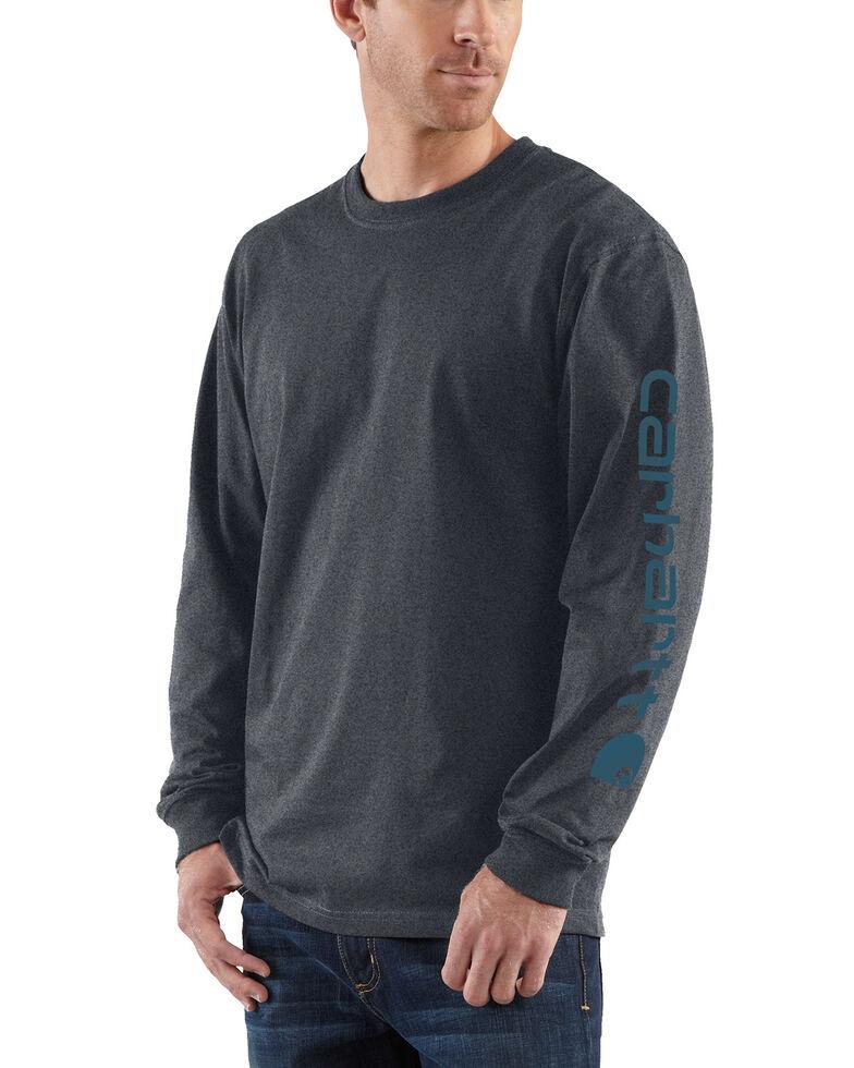 Carhartt Men's Signature Logo Sleeve Knit Work T-Shirt - Big & Tall, Grey, hi-res