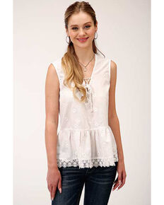Five Star Women's White Embroidered Sleeveless Blouse, White, hi-res