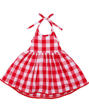 Wrangler Toddler Girls' Plaid Halter Dress, Red, hi-res