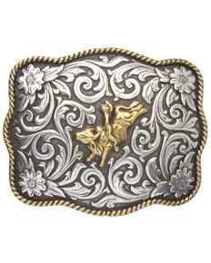 Cody James® Men's Bull & Rider Scalloped Belt Buckle, Two Tone, hi-res