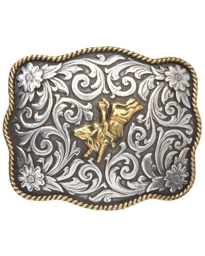 Cody James® Men's Bull & Rider Scalloped Belt Buckle, Two Tone, hi-res