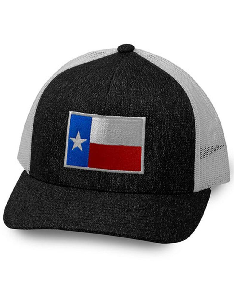 Oil Field Hats Men's Heather Black Texas Flag Patch Mesh-Back Ball Cap , Black, hi-res