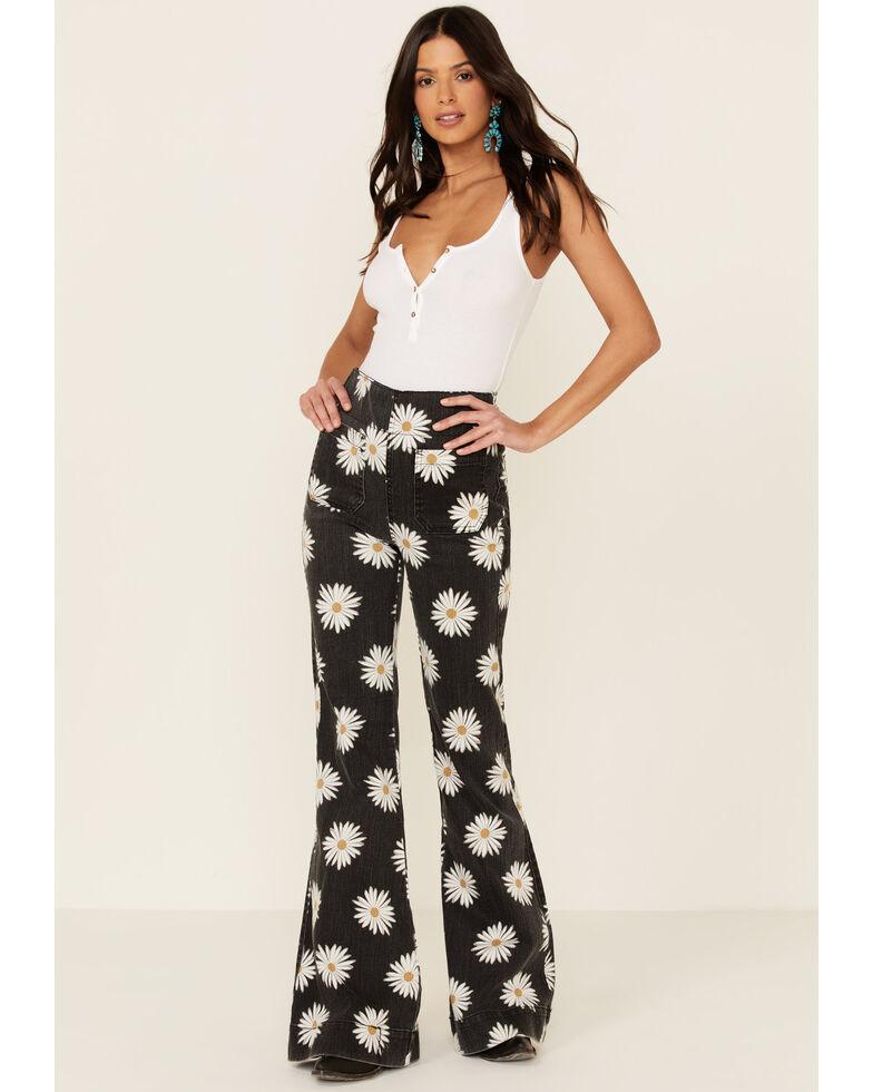 Show Me Your Mumu Women's Farrah Daisy Print Flare Jeans, Grey, hi-res