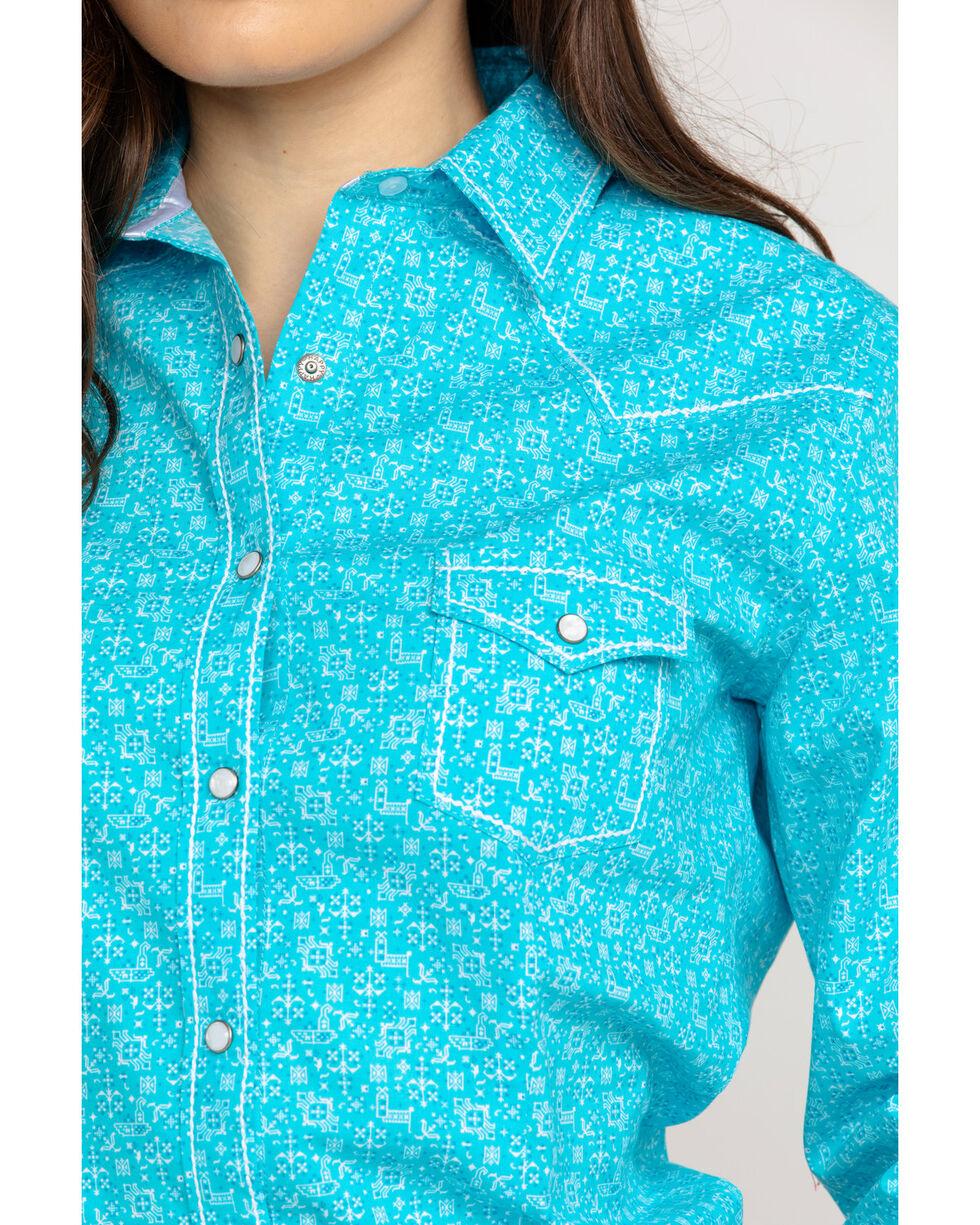 Panhandle Women's Portero Antique Print Long Sleeve Western Shirt , Turquoise, hi-res