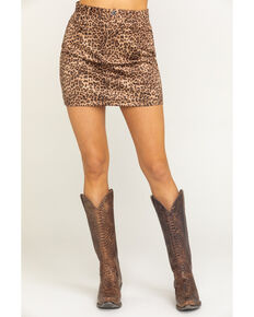 BB Dakota Women's Here Kitty Mini Skirt, Medium Brown, hi-res