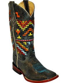 Ferrini Women's Aztec Cowgirl Western Boots, Teal, hi-res