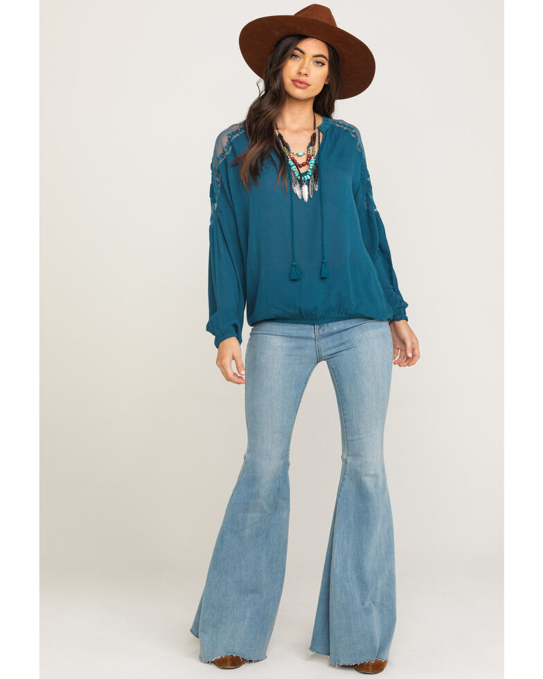 Shyanne Women's Teal Peasant Lace Long Sleeve Top, Teal, hi-res