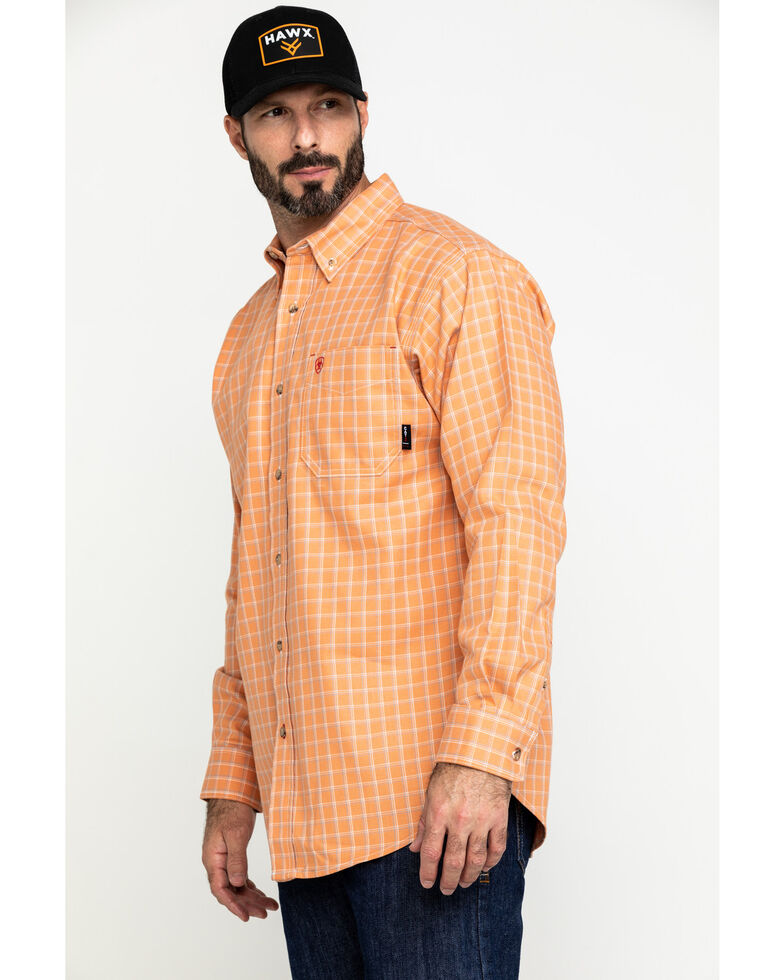 Ariat Men's FR Orange Excavator Plaid Long Sleeve Work Shirt - Tall , Orange, hi-res