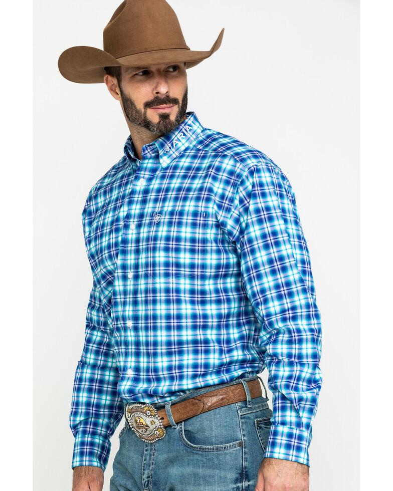 Ariat Men's Bennett Team Plaid Logo Long Sleeve Western Shirt - Tall , Multi, hi-res