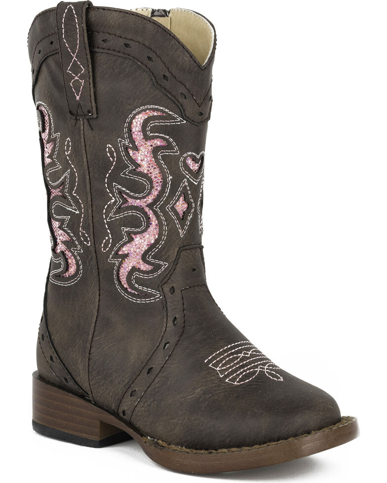 Roper Toddler Girls' Lexi Glitter Cowgirl Boots - Square Toe, Brown, hi-res