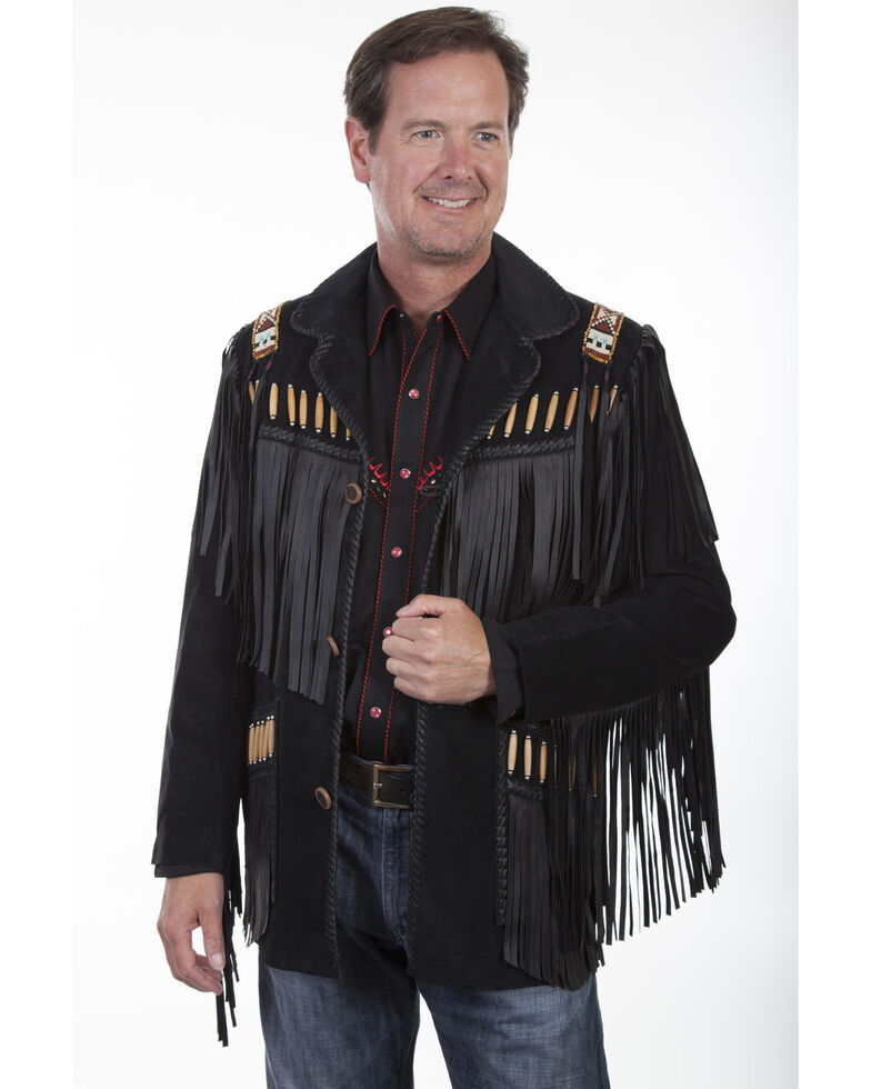 Scully Men's Boar Suede Fringe Jacket, Black, hi-res