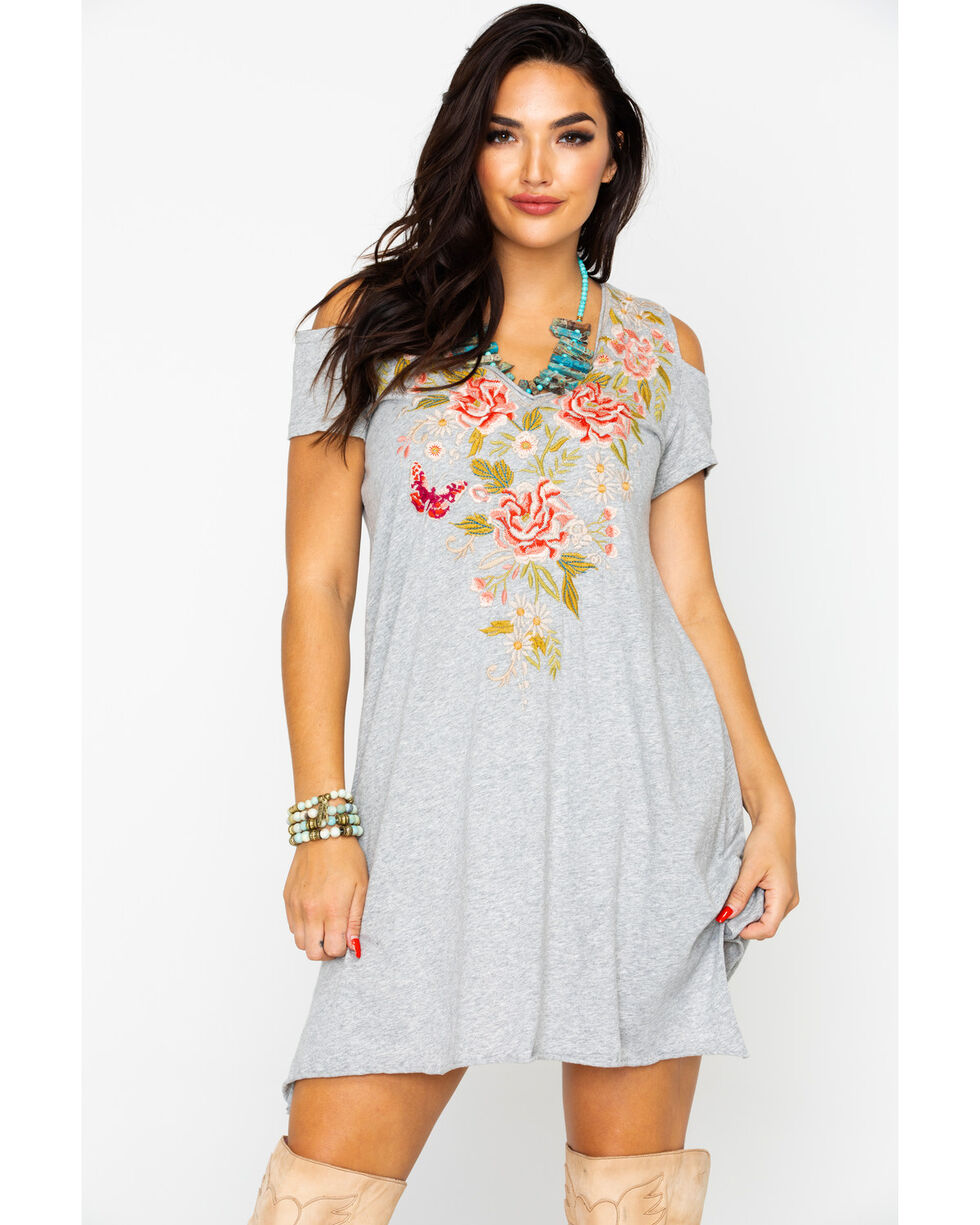 Johnny Was Women's Cecilie Cold Shoulder Tunic Dress, Heather Grey, hi-res