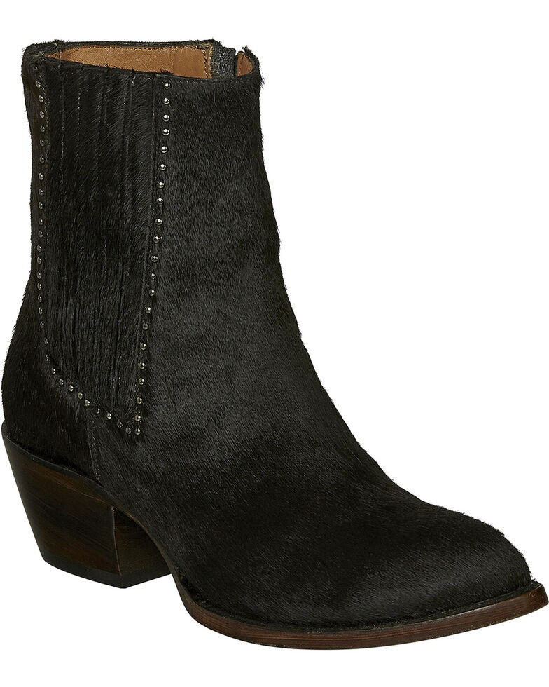 Lucchese Handmade Black Hair-On Calf Adele Cowgirl Booties - Pointed Toe , Black, hi-res