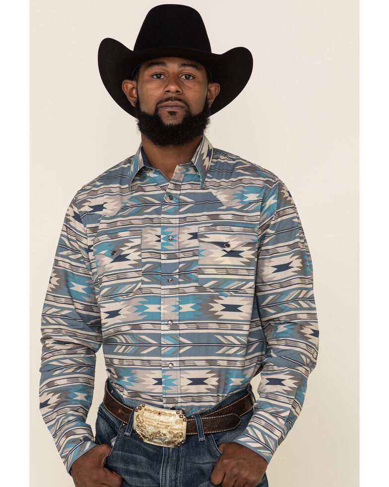 Roper Men's West Made Stepped Aztec Striped Long Sleeve Western Shirt , Blue, hi-res