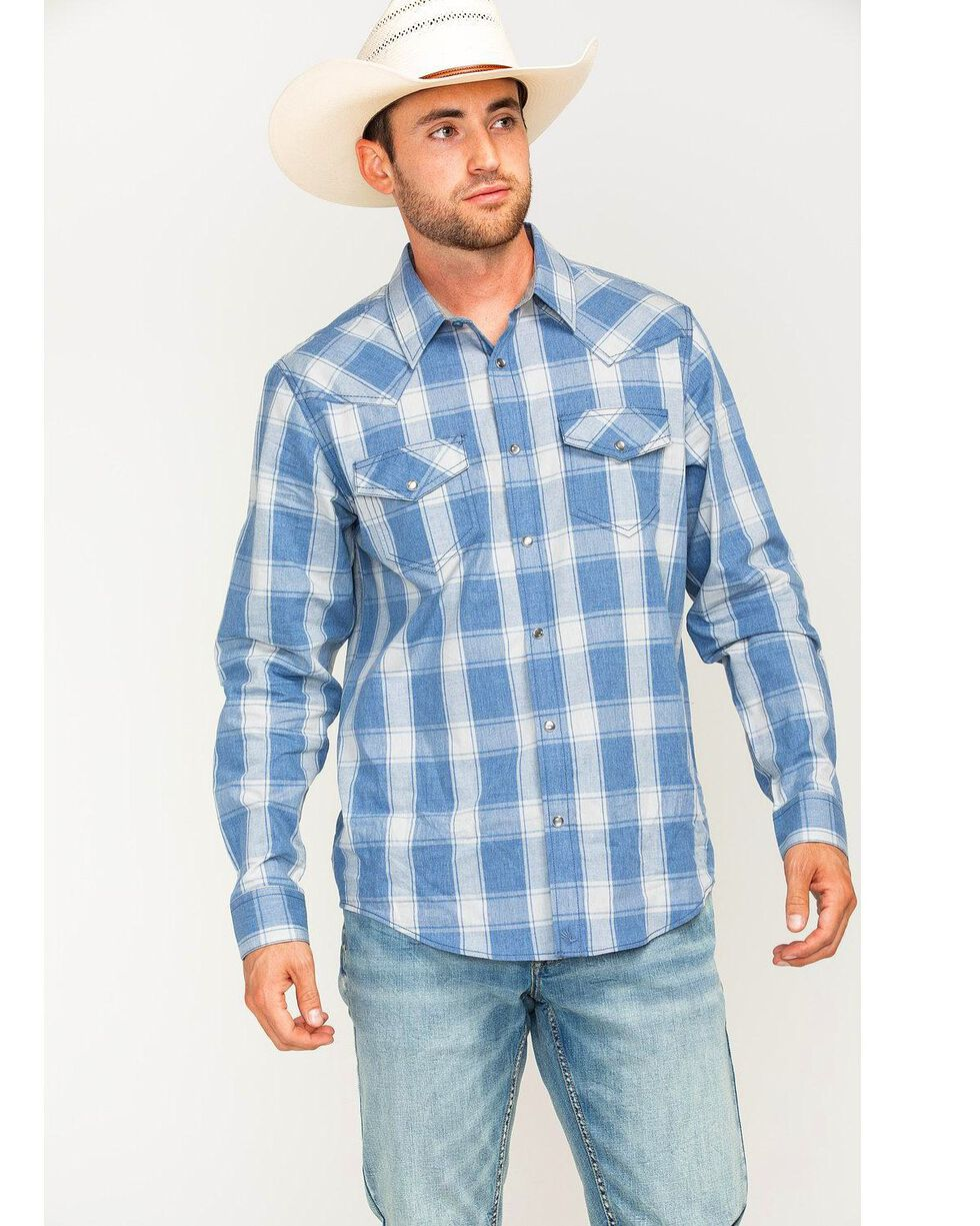 Cody James Men's Snap Button Plaid Long Sleeve Western Shirt, Blue, hi-res