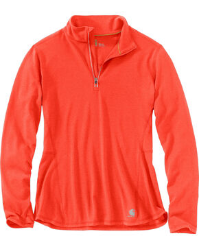 Carhartt Women's Force Ferndale Quarter Zip Shirt , Coral, hi-res