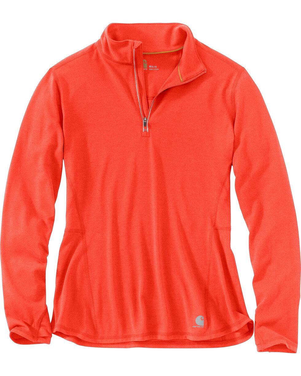 Carhartt Women's Force Ferndale Quarter Zip Shirt , Coral, hi-res