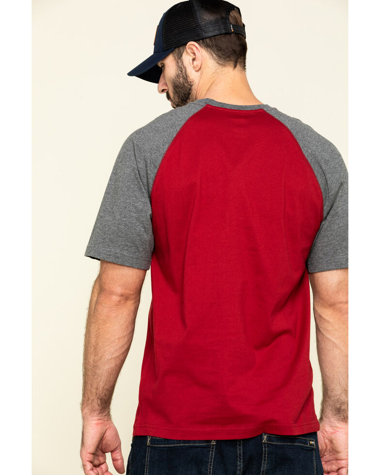 Hawx Men's Red Midland Short Sleeve Baseball Work T-Shirt , Red, hi-res