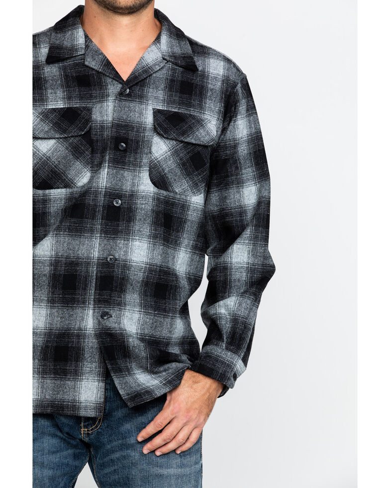 Pendleton Men's Black Board Oxford Plaid Long Sleeve Western Shirt , Black, hi-res