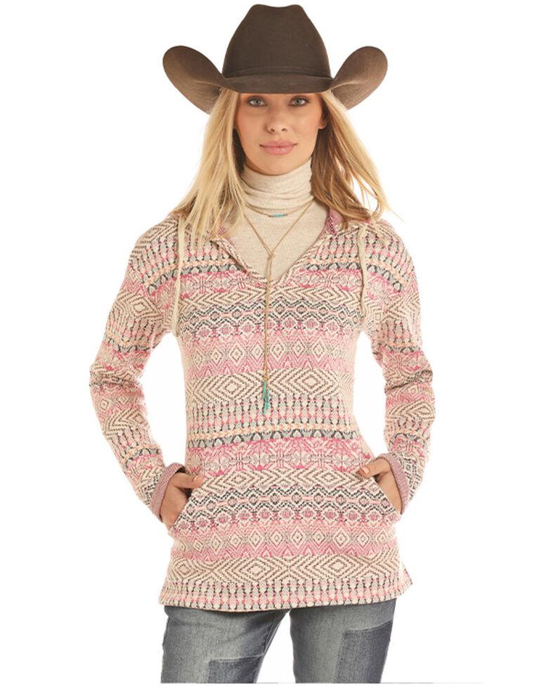Rock & Roll Denim Women's Pink Jacquard Aztec Knit Pullover Sweatshirt , Pink, hi-res