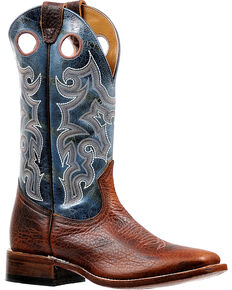 Boulet Men's Puma Turqueza Stockman Cowboy Boots - Square Toe, Brown, hi-res