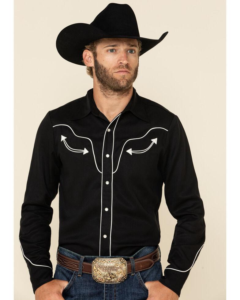 Hbarc Ranchwear Men's Black San Fernando Long Sleeve Western Shirt , Black, hi-res