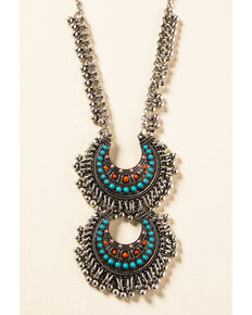 Shyanne Women's In The Oasis Two Tier Reverse Crescent Necklace, Silver, hi-res