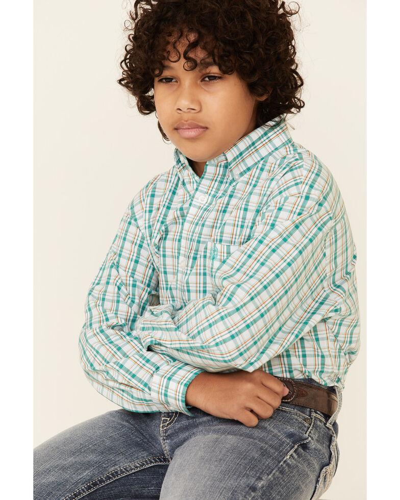 Panhandle Select Boys' Emerald Check Plaid Long Sleeve Western Shirt , Green, hi-res