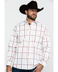Resistol Men's Cervenka Large Plaid Long Sleeve Western Shirt , White, hi-res
