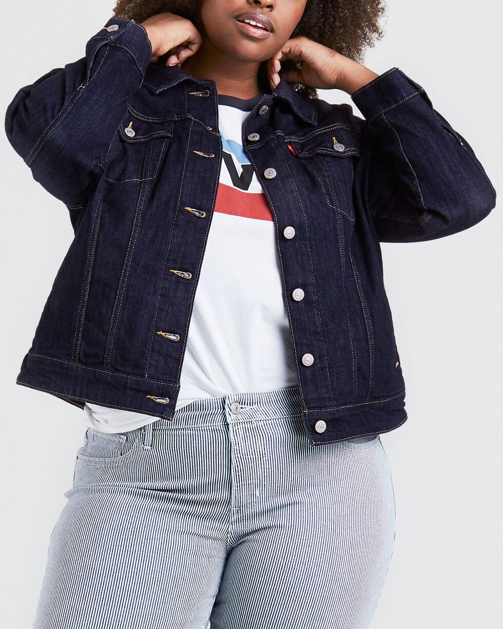 Levi's Women's Even Rinse Original Trucker Jacket - Plus, Indigo, hi-res