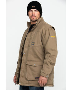 Ariat Men's Khaki Rebar Washed Dura Canvas Insulated Work Coat , Beige/khaki, hi-res