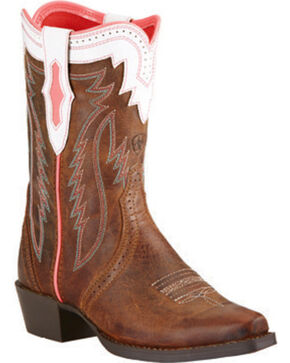 Ariat Girls' Calamity Rodeo Cowgirl Boots - Snip Toe, Tan, hi-res