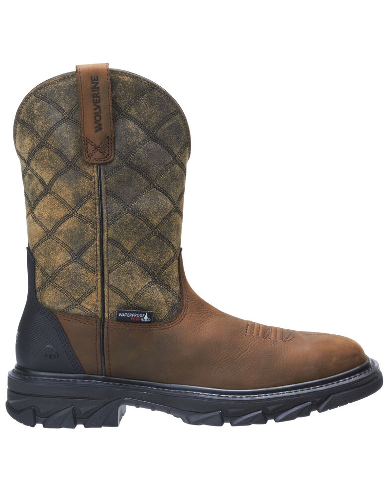 Wolverine Men's Ranch King Western Work Boots - Composite Toe, Distressed Brown, hi-res