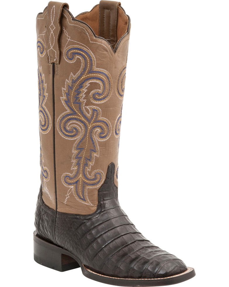 Lucchese Women's Annalyn Exotic Caiman Western Boots, Cafe, hi-res