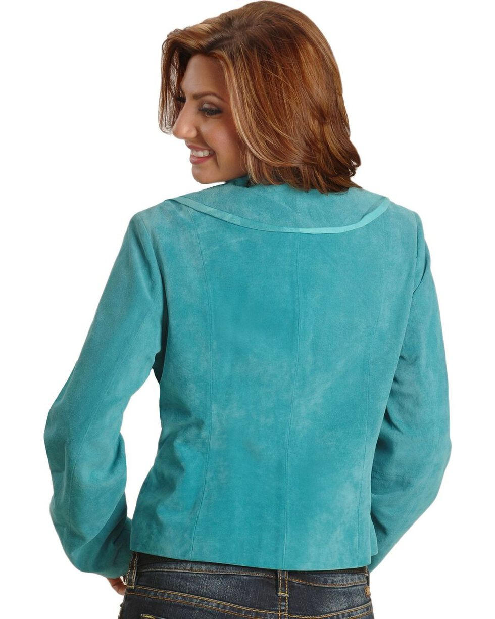 Scully Women's Ruffle Front Boar Suede Jacket, Blue, hi-res