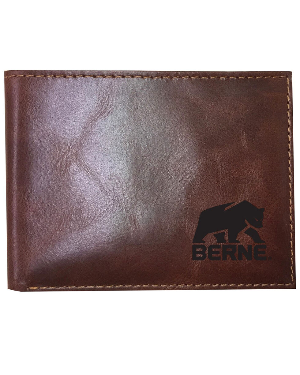 Berne Men's Brown Genuine Leather Passcase Wallet, Cognac, hi-res