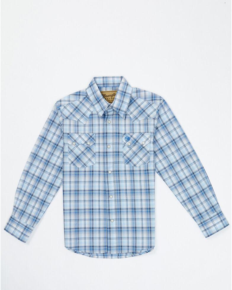 Wrangler Retro Boys' Blue Plaid Long Sleeve Snap Western Shirt , Blue, hi-res
