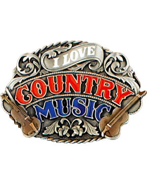 Western Express Women's I Love Country Music Belt Buckle , Red, hi-res