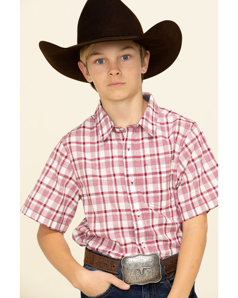 Cody James Boys' Cookout Plaid Short Sleeve Western Shirt , Red/white/blue, hi-res