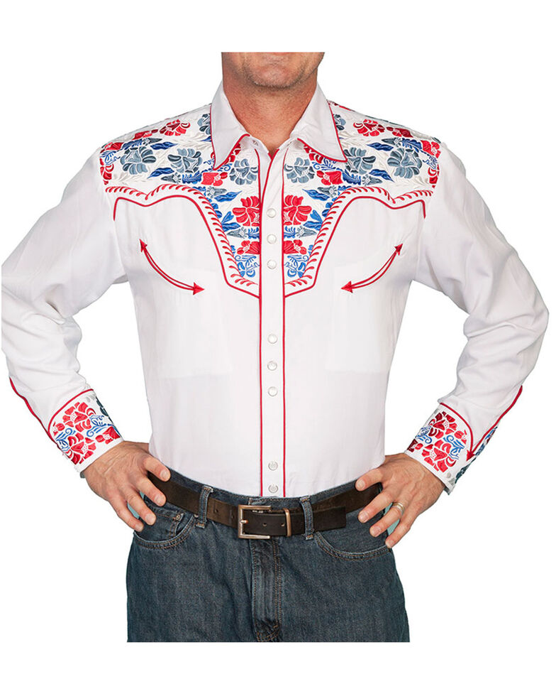 Scully Men's Vibrant Floral Embroidered Retro Long Sleeve Western Shirt, White, hi-res