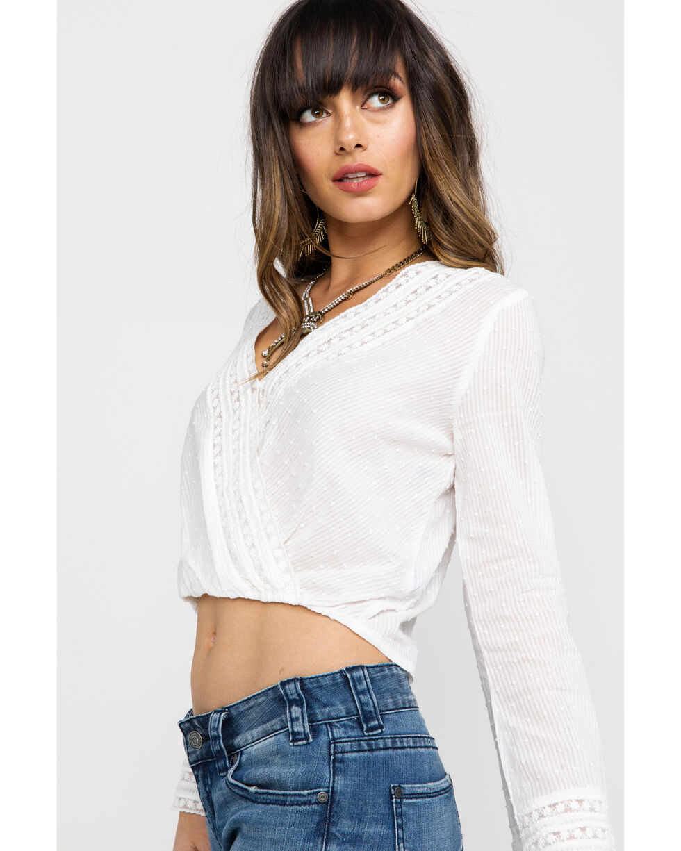 Angie Women's Dot Lace Bell Sleeve Top, White, hi-res