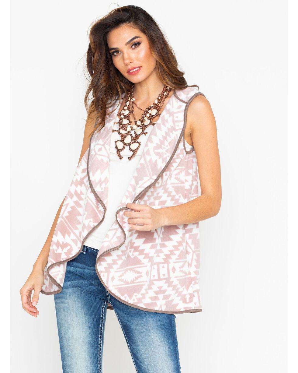 Peach Love CA Women's  Mauve Aztec Print Hoodie Vest, Mauve, hi-res
