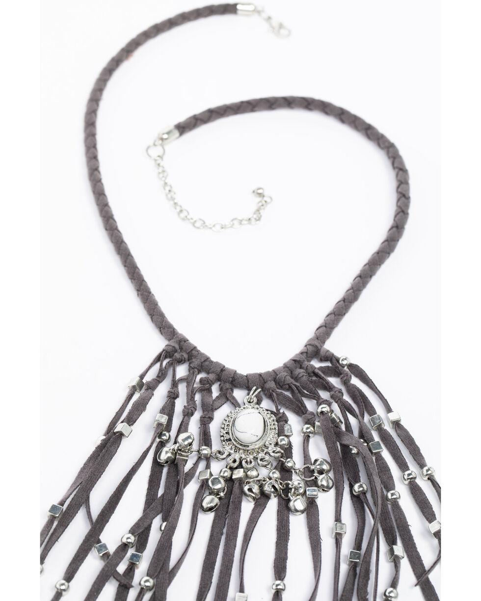 Shyanne Women's Chloe Beaded Fringe Necklace, Grey, hi-res