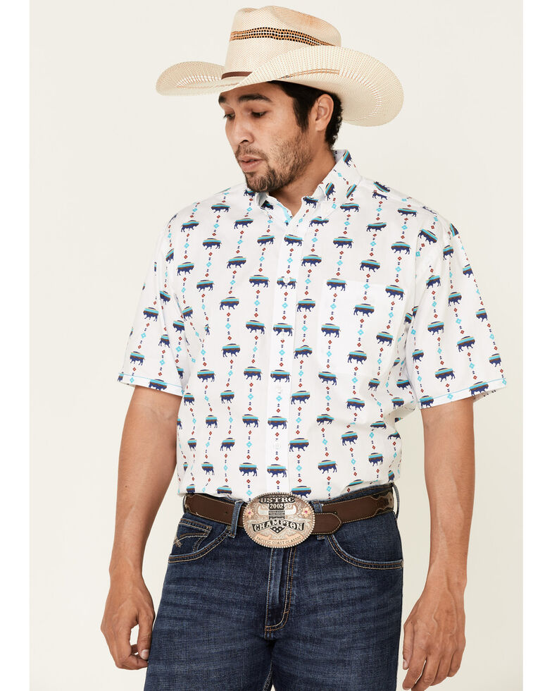 Rough Stock By Panhandle Men's White Buffalo Print Short Sleeve Western Shirt , Multi, hi-res