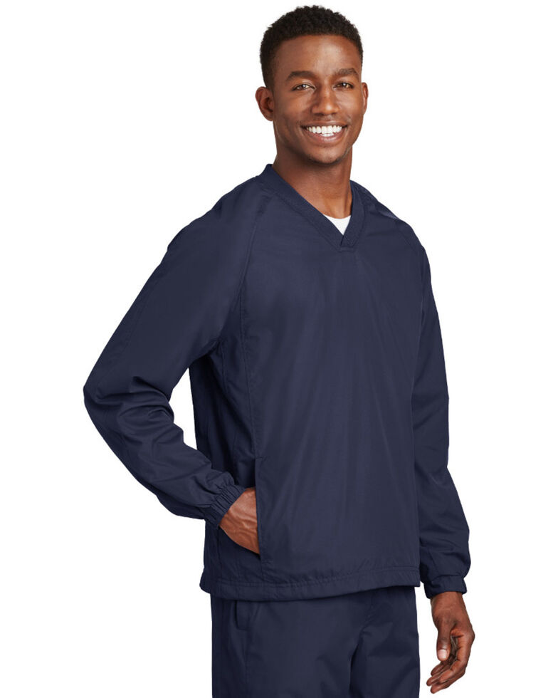 Sport-Tek Men's V-Neck Raglan Wind Work Shirt Jacket , Navy, hi-res