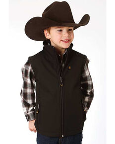 Roper Boys' Soft-Shell Fleece Zip Up Vest , Black, hi-res