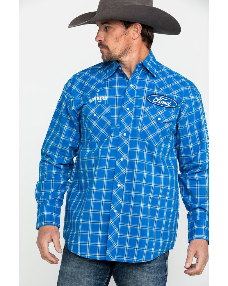 Wrangler Men's Ford Logo Plaid Long Sleeve Western Plaid , Bright Blue, hi-res